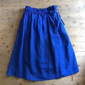 《ブルーのみ》blue willowのリネン サイドタックリボンスカート