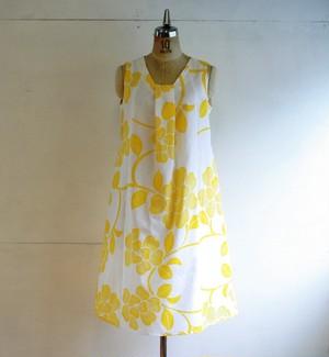 綿 黄色花 タックワンピース Mサイズ