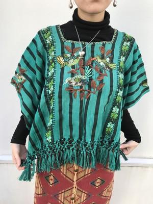 Vintage Guatemala green bird & floral embroidery fringe tops( ヴィンテージ グアテマラ グリーン × ストライプ 鳥 花柄 刺繍 フリンジ トップス