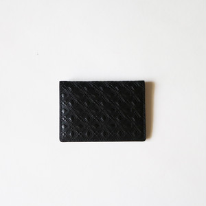 WM x PORTER MARQUETRY PATTERN EMBOSSED LEATHER CARD CASE- BLACK