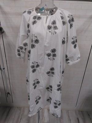 刺繍コットンシャツワンピ