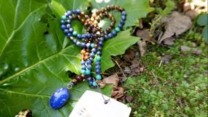 Japa mala : Lapis lazuli + Tiger Eye, Lapis lazuli, Marakite