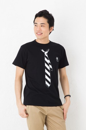 だまし絵 ネクタイ Tシャツ 半袖 ブラック