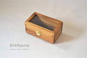 0310 国産ひのきとクリアガラスのアクセサリーケース(ゴールドの金具)