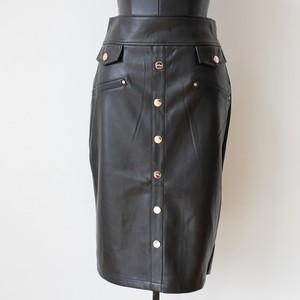JUS D'ORANGE エコレザーボタンデザインペンシルスカート:ORG-0814 ¥14,000+tax