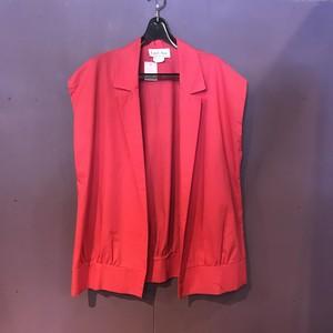 80's darkpink nosleeve tailored jacket [B2332]