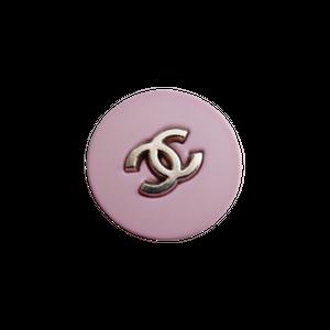 【VINTAGE CHANEL BUTTON】 シルバー ココマーク ピンク ボタン 22㎜ C-21027