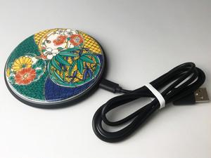 九谷焼ワイヤレスチャージャー シルク印刷 【九谷結窯】