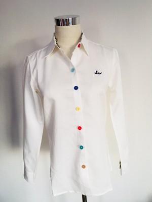 カラフルボタンと象さん長袖シャツ for women【プノンペン テーラーメイド】