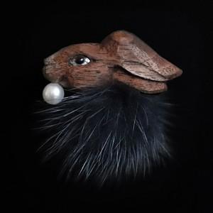 <受注>黒うさぎファー/耳飾り(※片耳販売)