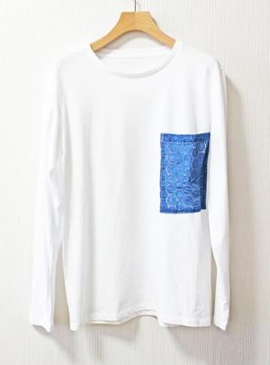 藍染め長袖 綿 Tシャツ  M ユニセックス(APT-3)レース 白 ホワイト white