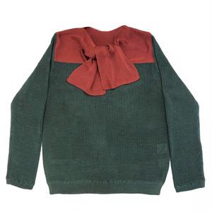 ribbon knit top / green