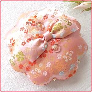 ピンクの花丸和風リングピロー