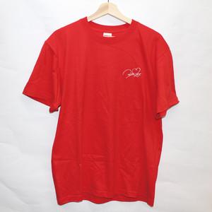 ロゴ刺繍Tシャツ レッド