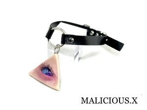cat eye ring choker / blue × pink (skin)