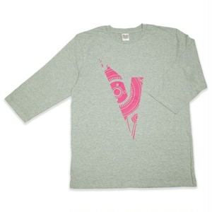 VISYON Initialized elbow length Tee ヘザーグレー × ホットピンク