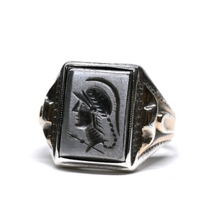Vintage Ostby Barton Sterling Silver & 10k Gold Intaglio Ring