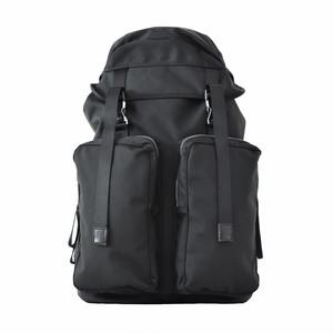 LORINZA Ballistic Nylon Double Pocket Backpack Black