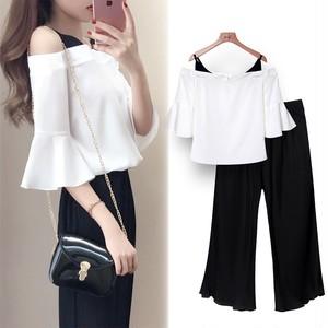 【セット】ファッションスピーカースリーブシャツ+ガウチョパンツ2点セット18555561