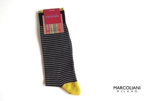 マリコリアーニ|marcoliani|ピマコットンクルー丈ボーダーソックス|Palio Stripe|Black flannel
