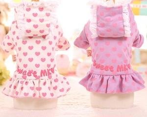 ★かわいい犬服ワンピ/ドレス  ハート柄パーカー