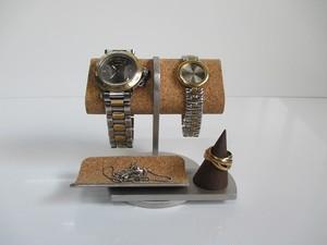 腕時計 飾る 2本掛けだ円パイプトレイ、指輪スタンド付き腕時計スタンド 190803