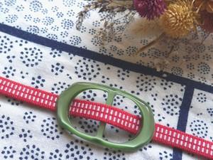 【帯留+三分紐セット】グリーン帯留&レッド三分紐