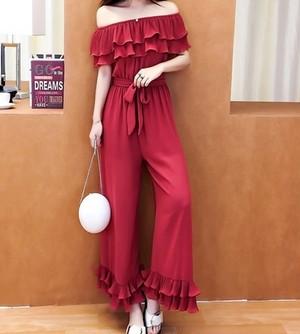 【SALE】オフショルオールインワン(Red)