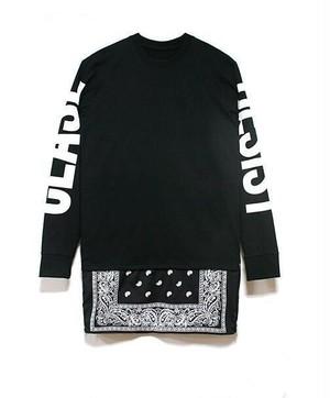 【大人気】ロング丈バンダナ長袖Tシャツ 2カラー