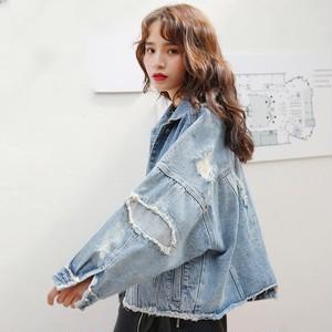 【アウター】ストリートデニム合わせやすいダメージ加工エッジングジャケット