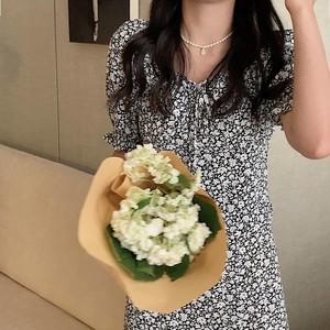 花柄サイドスリットミモレ丈ワンピース LMW585