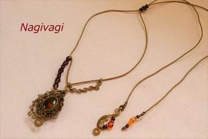 Amber brasswire macrame necklace