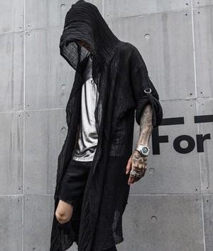 メンズ ロングシャツ カーディガン 羽織 フード付き シースルー 透け感 スタイリッシュ カジュアル ストリート 原宿系 裏原宿系 オルチャン 韓国ファッション 1430