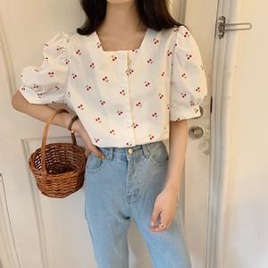 【トップス】中袖ファッションシングルブレストプリントシャツ