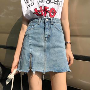 【ボトムス】カジュアル無地デニムAラインスカート