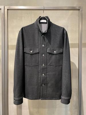 T/f Lv4 knit denim fatigue shirts blouson - combined black
