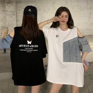 【トップス】切り替えデニムファッション透かし彫りTシャツ31419353