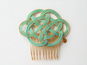 水引のヘアコーム (ゴールド×ライトブルー) チャーム付き