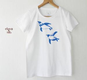 泳いでるペンギンTシャツ(白/インク:青)