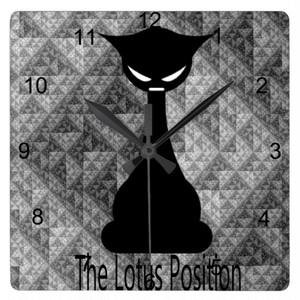 仏猫 スクエア壁時計