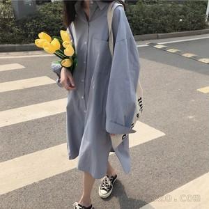 【ワンピース】カジュアル長袖無地POLOネックシャツワンピース23328208