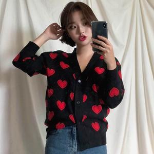 【トップス】韓国系長袖シングルブレストVネックプリントセーター