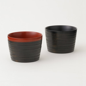 香川漆器 象谷フリーカップ ペアセット 朱&黒 中田漆木