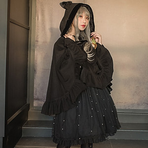 病みかわいい コート ネコ耳 フード 姫系 ロリィタ系 マント ゴシック 10代 20代 原宿系