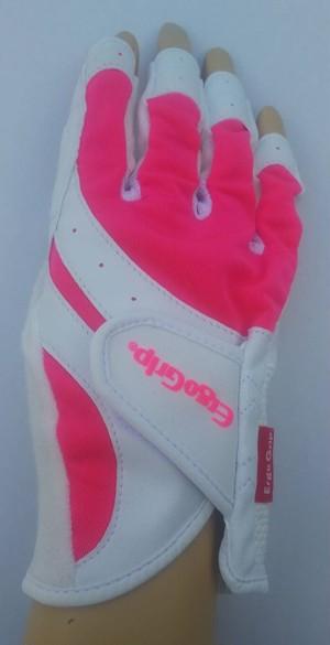 右手 限定10枚! ゴルフ用右手 ERGO FORCE ハーフフィンガー EGO-1901R (ピンク)  *レディスサイズのみ
