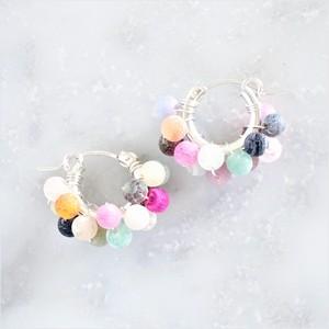 SV925SF*mix Agate pavé earring / pierced earring