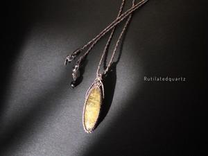 ルチルクォーツ macrame necklace