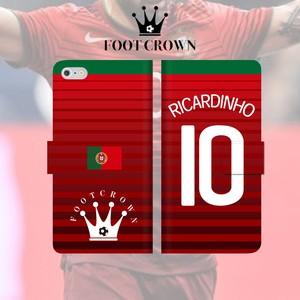 FOOT CROWN 限定 手帳型 スマホケース フットサル ポルトガル代表柄 リカルジーニョ RICARDINHO 10番 iphone全機種対応