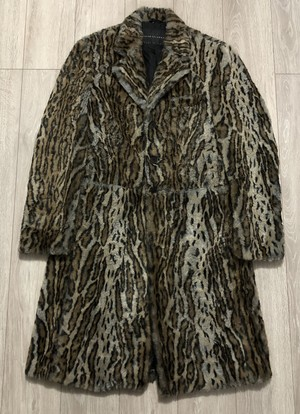 1990s JEAN COLONNA LEOPARD FAUX FUR COAT