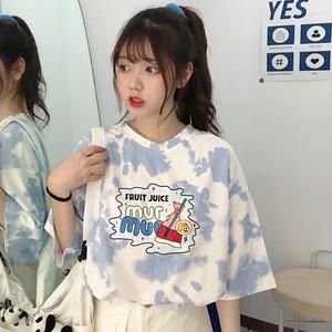 【トップス】シンプルカジュアル半袖グラデーション色プリントTシャツ47441608